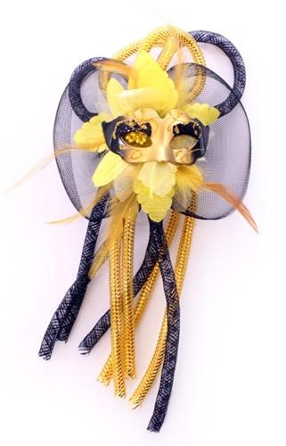 Broche bloem, tubes en oogmasker zwart/geel