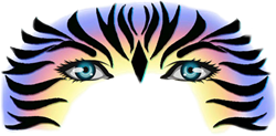 Blu Pandora Zebra Masker Schmink Sjabloon