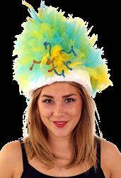 Bontmuts carnaval blauw geel