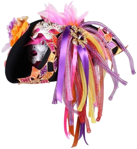 Roze luxe carnavalshoed driesteek