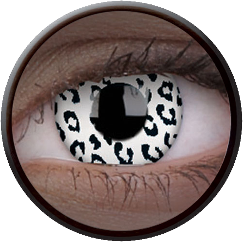 Crazy Glow UV Glow White Leopard Contactlens