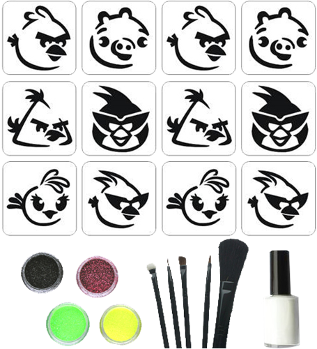 Angry Birds Glittertattoo Set