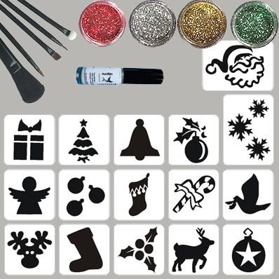 Kerst Glittertattoo Set