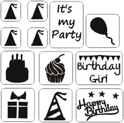 Verjaardag Glittertattoo Sjablonenset