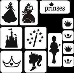 Prinses Glittertattoo Sjablonenset