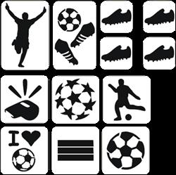 Voetbal Glittertattoo Sjablonenset