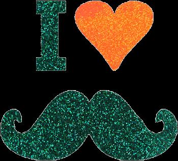 Mustache Glittertattoo Sjabloon