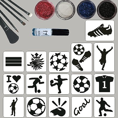 Voetbal Glittertattoo Set