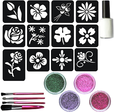 Bloemen Glittertattoo Set