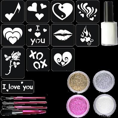 Valentijn Glittertattoo Set