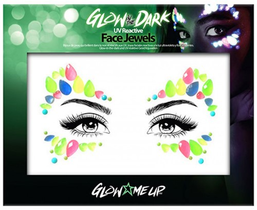 Glow in the dark face jewels druppels