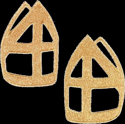 Gouden Sinterklaasmijter Borduursels 2 stuks