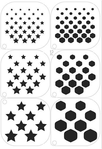Schminksjablonenset sterren en blokken