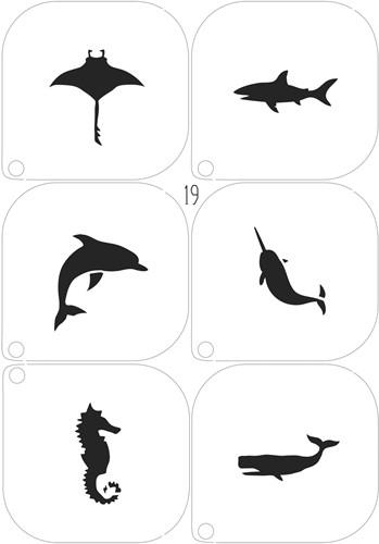 Schminksjablonenset Zeedieren