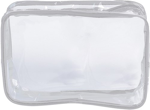 Toilettas transparant witte rand