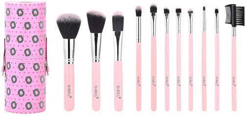 Pink flamingo make-up borstel set