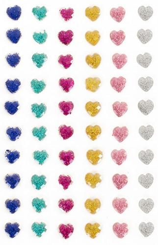 Plaksteentjes Glitter Hartjes 60 stuks