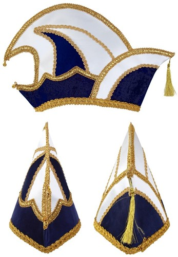 Prinsenmuts blauw wit maat 63