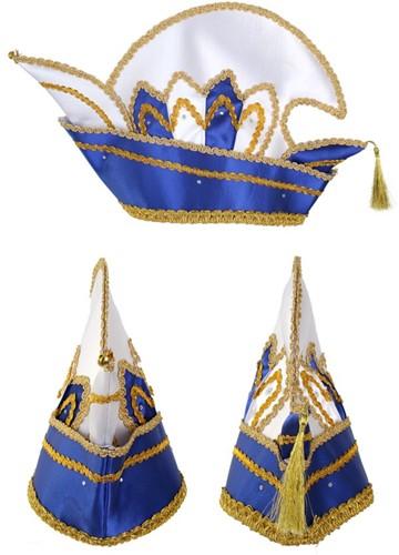Prinsenmuts blauw wit met steentjes maat 63