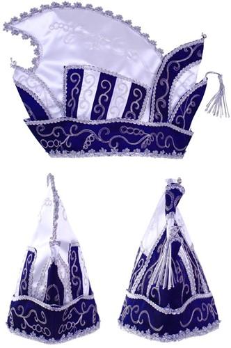 Prinsenmuts blauw wit zilver maat 63
