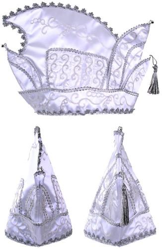 Prinsenmuts wit zilver maat 63