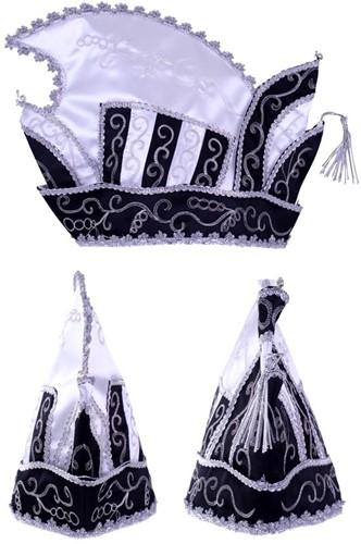 Prinsenmuts zwart wit zilver maat 63