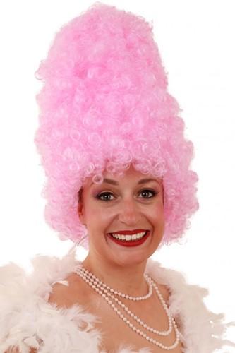 Pruik Curly suikerspin hoog roze