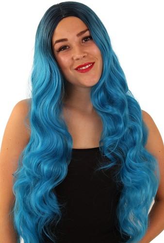 Pruik Faye turquoise lang haar