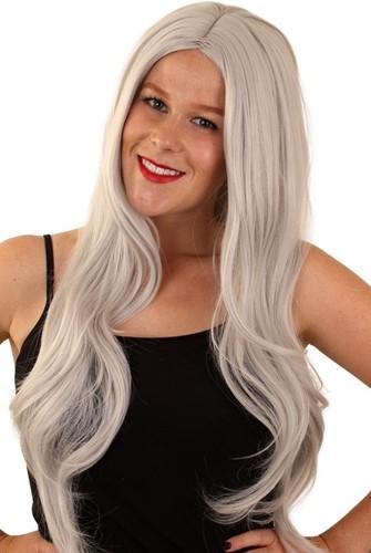 Pruik Tess grijs lang haar