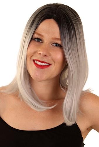 Pruik Yara grijs zwart lang haar