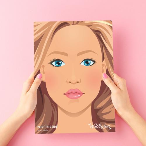 Schmink Oefenbord A4 vrouwengezicht Jill