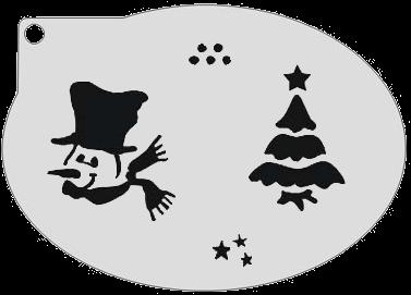 Schminksjabloon Sneeuwpop en Kerstboom