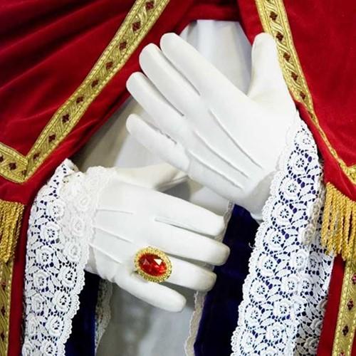 Sint Handschoenen Wit met plooi M
