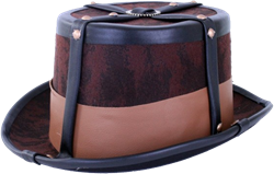 Steampunk hoed bruin met elastieke band
