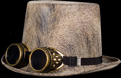 Steampunk hoed grijs met elastieke band-2