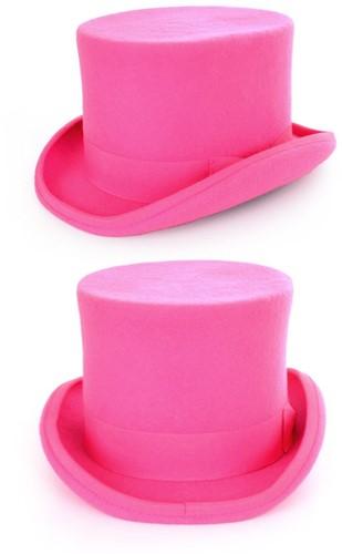 Tophat hoge hoed roze met elastische band